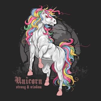 Vettore arrabbiato di colore pieno dell'unicorno