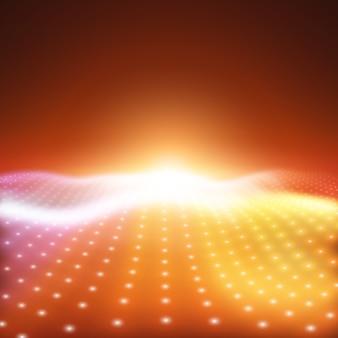 Vettore astratto con luci al neon colorate che formano superficie ondulata.