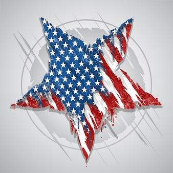 Vettore astratto di elemento dell'elenco di grunge della bandierina degli stati uniti d'america