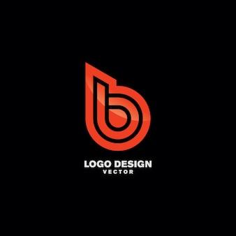 Vettore astratto di progettazione di logo della lettera di b