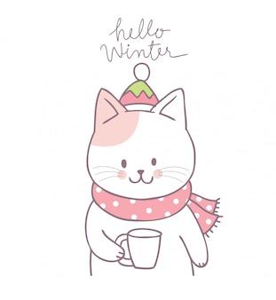 Vettore bevente del caffè del gatto sveglio del fumetto.