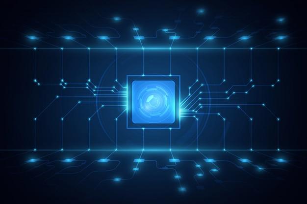 Vettore blu del fondo di tecnologia dell'illustrazione astratta del circuito del fondo dell'unità di elaborazione del chip di tecnologia.