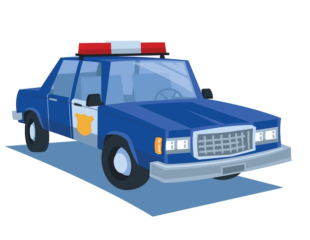 Vettore blu del fumetto dell'automobile della polizia