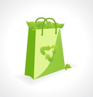 Vettore borsa verde con simbolo di ecologia