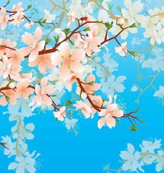 Vettore brunch in fiore albero in giardino sullo sfondo del cielo blu