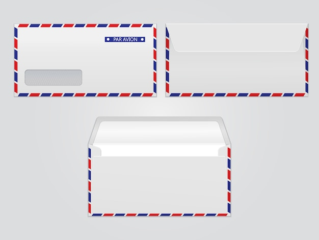 Vettore busta posta par avion. buste di carta in bianco per il tuo design. modello buste vettore.