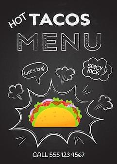Vettore caldo del menu dei taci dello spuntino messicano di cucina