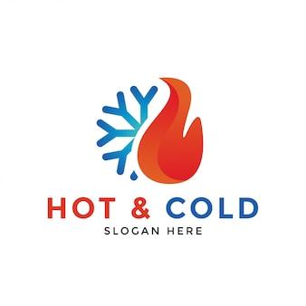 Vettore caldo e freddo del modello di progettazione dell'icona di logo