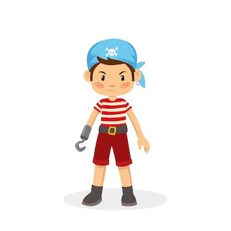 Vettore cartone animato del giovane pirata