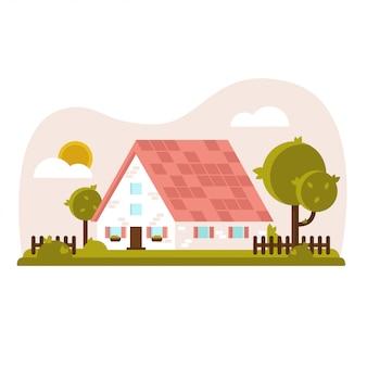 Vettore casa accogliente con giardino verde e prato