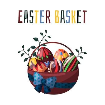 Vettore. cestino di pasqua con uova colorate al cioccolato e fiori primaverili.