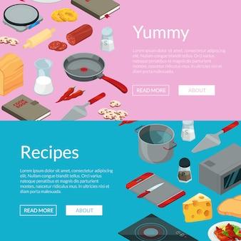 Vettore che cucina l'illustrazione isometrica delle insegne degli oggetti dell'alimento