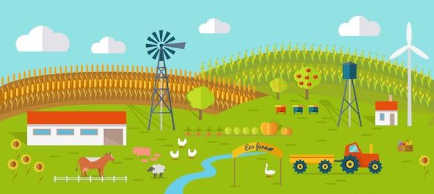 Vettore concettuale dell'azienda agricola di eco nella progettazione piana di stile.