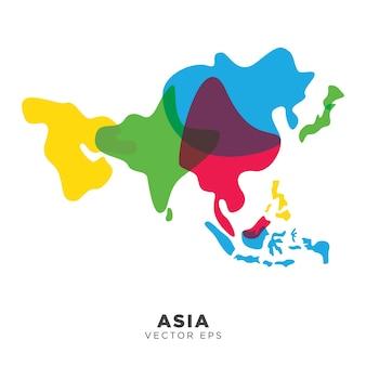 Vettore creativo della mappa dell'asia