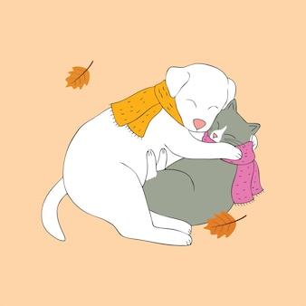 Vettore d'abbraccio sveglio del cane e del gatto di autunno del fumetto.