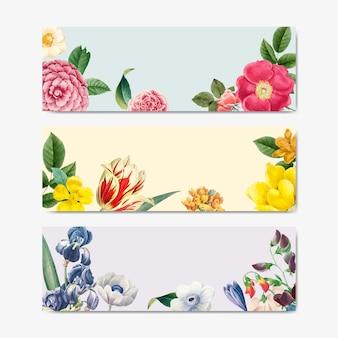 Vettore d'annata del contrassegno di titolo di concetto della natura floreale