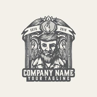 Vettore d'annata del modello di logo del capo della mafia