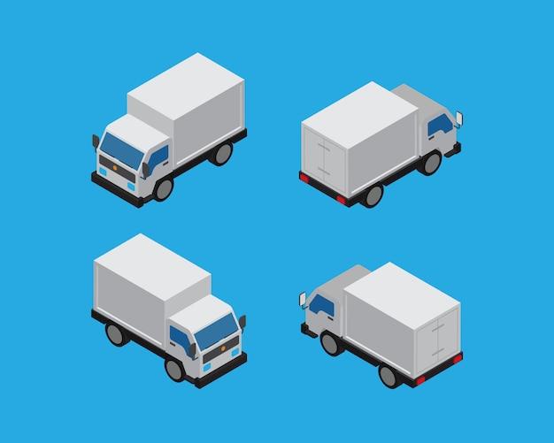Vettore d'annata dell'automobile isometrica della scatola