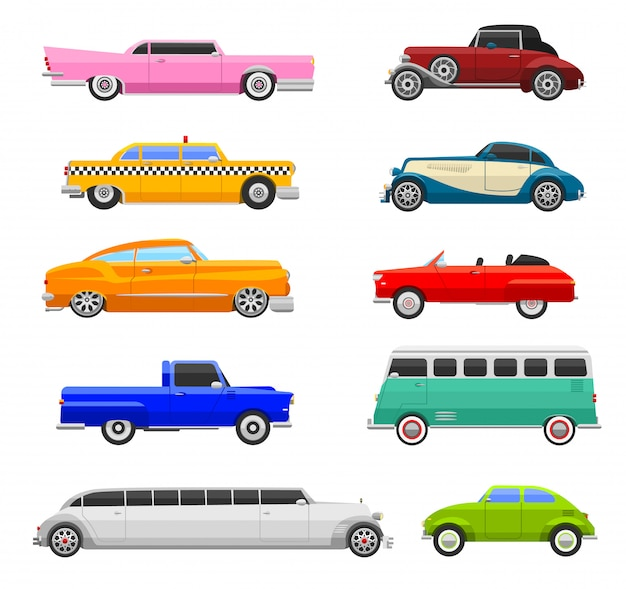 Vettore d'annata delle icone delle retro automobili