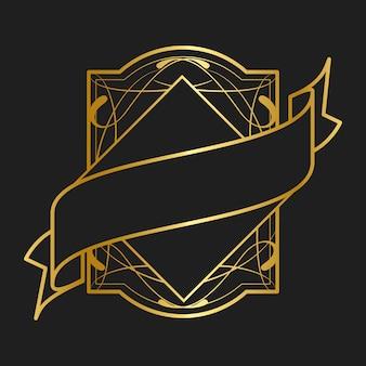 Vettore d'annata dorato del distintivo di stile liberty