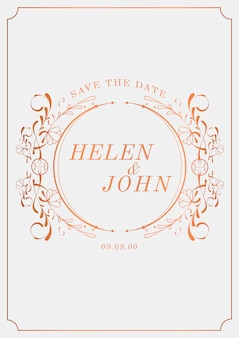 Vettore d'annata romantico del modello della carta dell'invito di nozze di stile liberty
