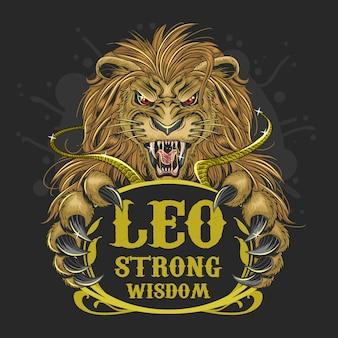 Vettore dei capelli d'oro zodiacale di leone leo