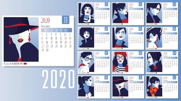 Vettore del 2020 anno nuovo calendario con donne della moda