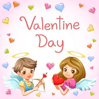 Vettore del biglietto di s. valentino del telaio del cuore e del bambino di cupido