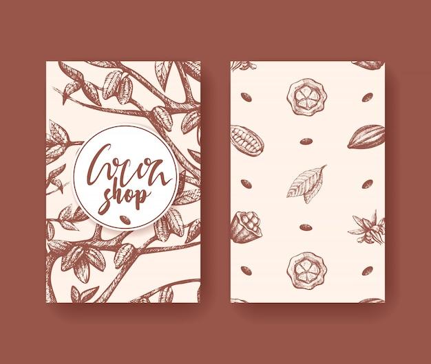 Vettore del cacao della carta dei due lati del superfood. incisione di frutta, foglie e fagioli.