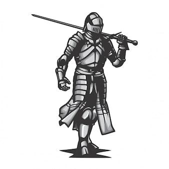 Vettore del cavaliere dell'armatura del metallo