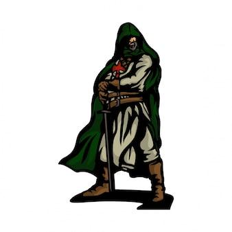 Vettore del cavaliere della crociata
