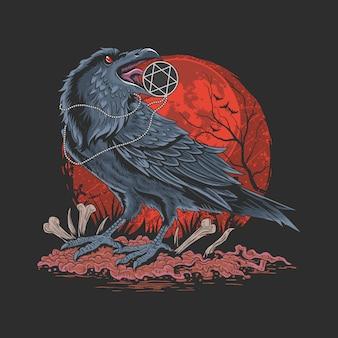 Vettore del dettaglio dell'illustrazione dell'uccello della crow