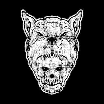 Vettore del disegno della mano del pitbull della testa di stile di lerciume, isolato