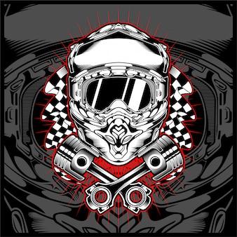 Vettore del disegno della mano di vettore dell'incrocio del motore del casco del cranio