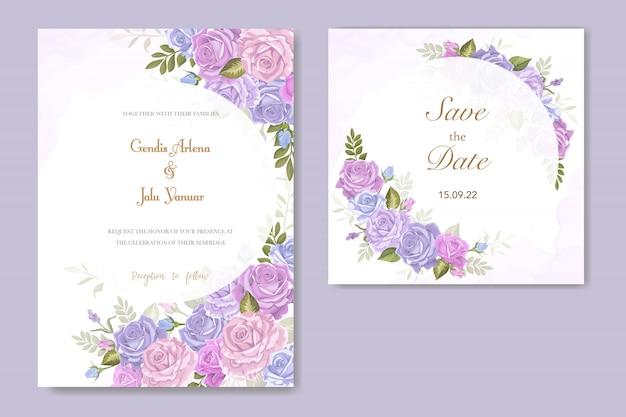 Vettore del fiore della rosa dell'invito di cerimonia nuziale