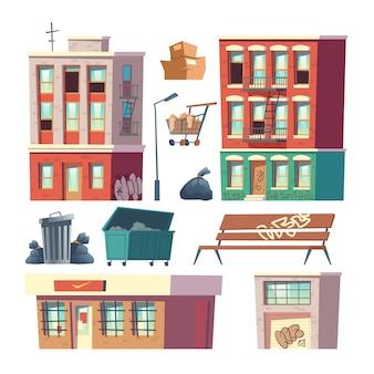 Vettore del fumetto degli elementi di architettura del ghetto della città