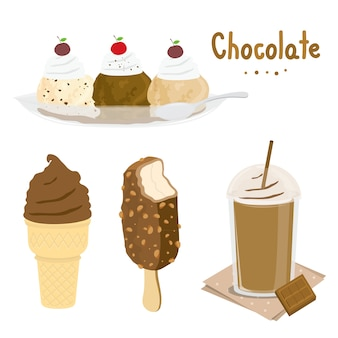 Vettore del fumetto del dessert del gelato del cioccolato