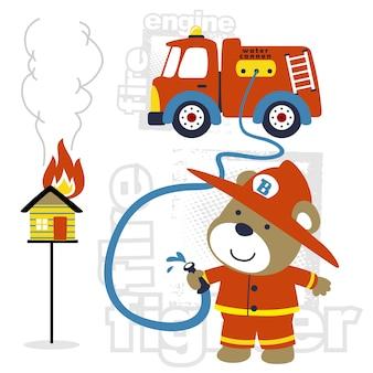 Vettore del fumetto del pompiere