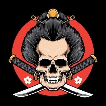 Vettore del geisha del cranio con la katana