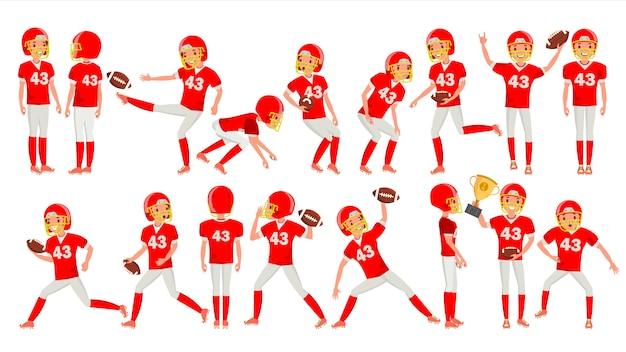 Vettore del giocatore del giovane di football americano. uniforme bianca rossa. stadium football game. uomo.