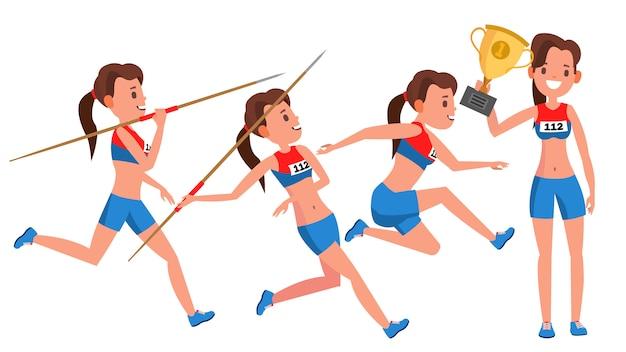 Vettore del giocatore della giovane donna di atletismo. concetto di sport. gara da jogging. abbigliamento sportivo. sport individuale. ragazza atleta. personaggio dei cartoni animati piatto