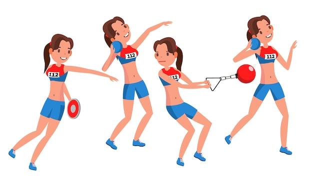 Vettore del giocatore femminile di atletismo. giocare in diverse pose. donna. personaggio dei cartoni animati isolato atleta