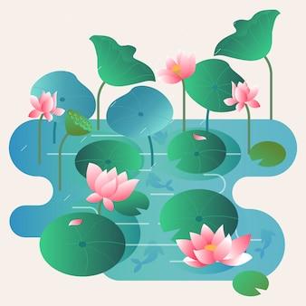 Vettore del lago di loto