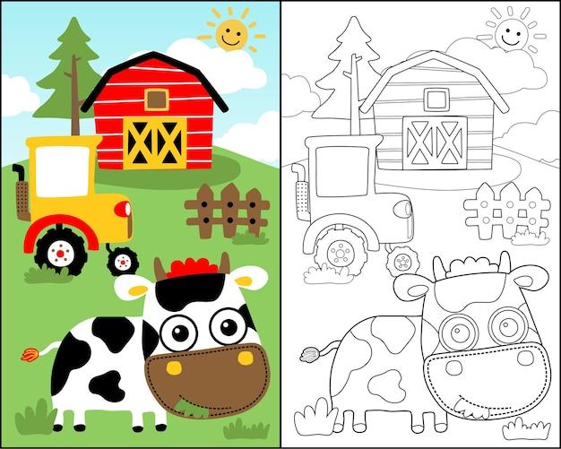 Vettore del libro da colorare con cartone animato carino mucca nel campo della fattoria