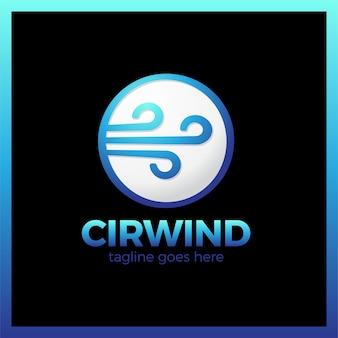Vettore del logotipo dell'onda del vento del cerchio