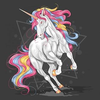 Vettore del materiale illustrativo fullcolour dell'unicorno
