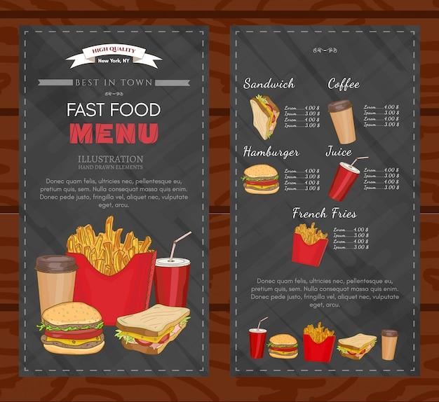Vettore del menu degli alimenti a rapida preparazione del modello di progettazione della copertura del fast food