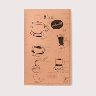 Vettore del menu della caffetteria e del caffè