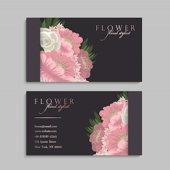 Vettore del modello del biglietto da visita di stile floreale
