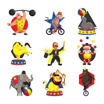 Vettore del modello del fumetto colorato raccolta delle icone del circo